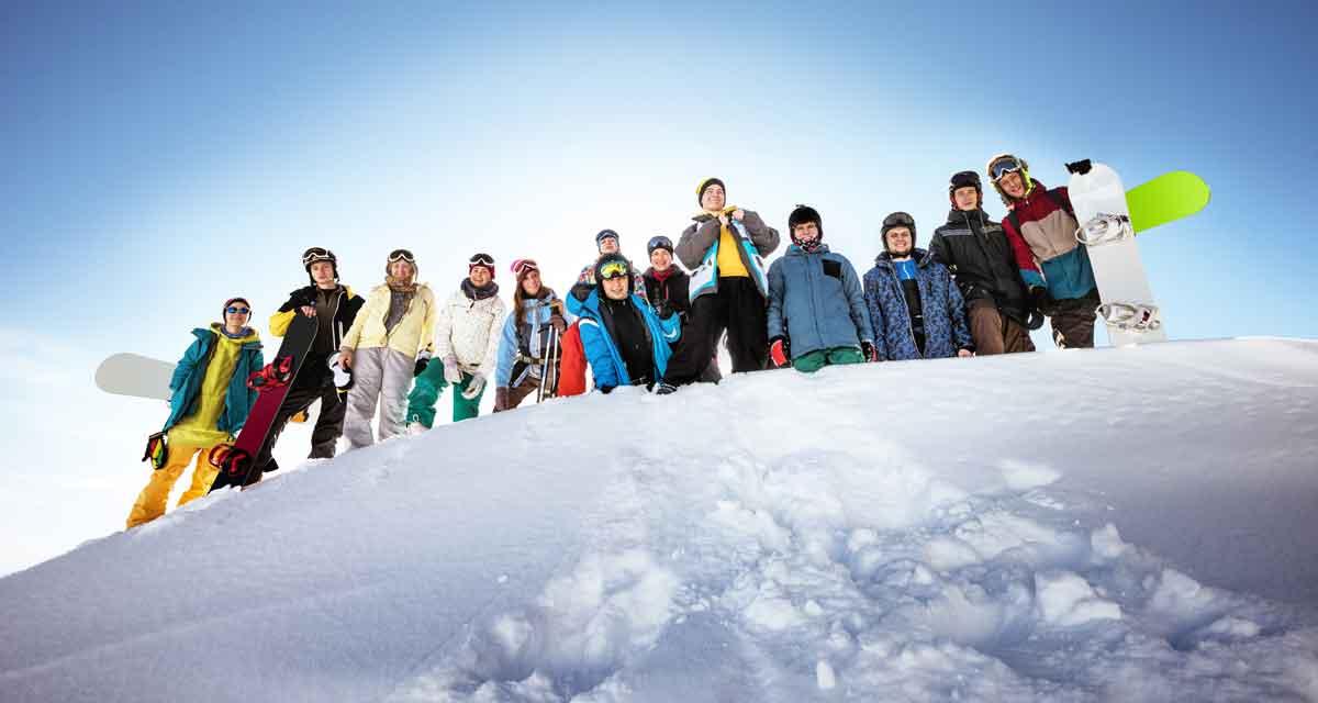 grote groep wintersport